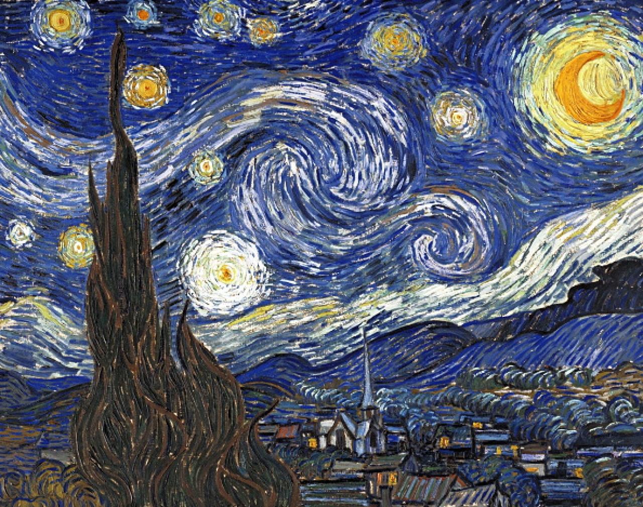 《星夜》是梵高於1890年入住法國一家精神病院期間創作的油畫,是其代表作之一,現藏紐約現代藝術博物館。(Getty Images)