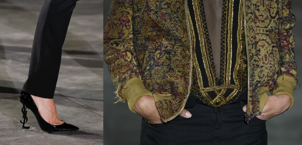 Vaccarello重新大量運用YSL cassandre logo,例如變成非常性感的鞋跟;黑色之外亦有不少非常襟興金色細節,看來他也是追求細水長流的美學。(Getty Images)
