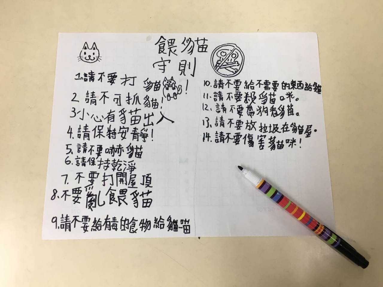學生們自行構思餵貓的守刖,並仔細地列出很多注意的細節。(受訪者提供)