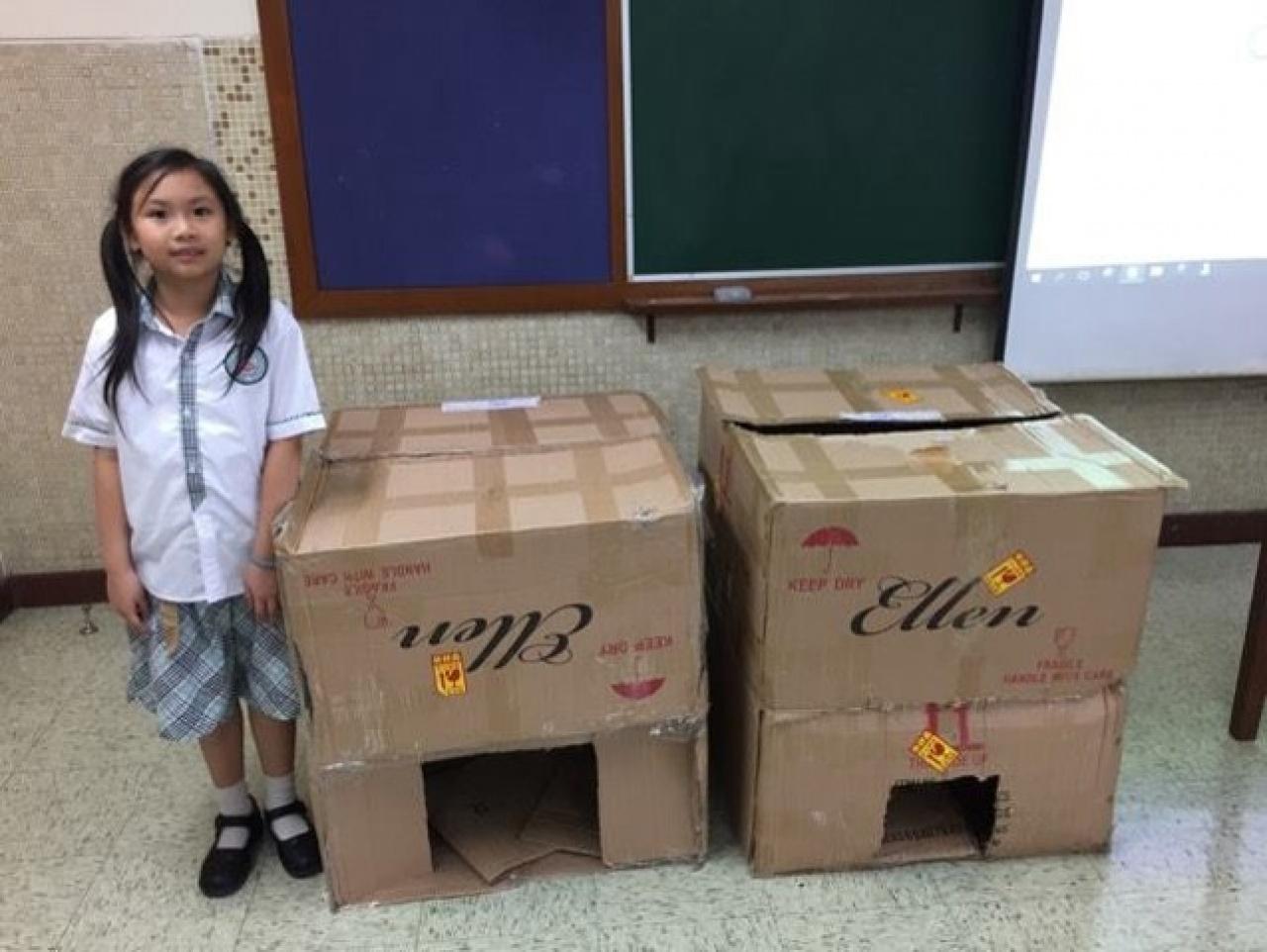 「智能流浪貓屋」計劃啟動了近兩個月,學生初期嘗試用紙皮去製作貓屋。(受訪者提供)