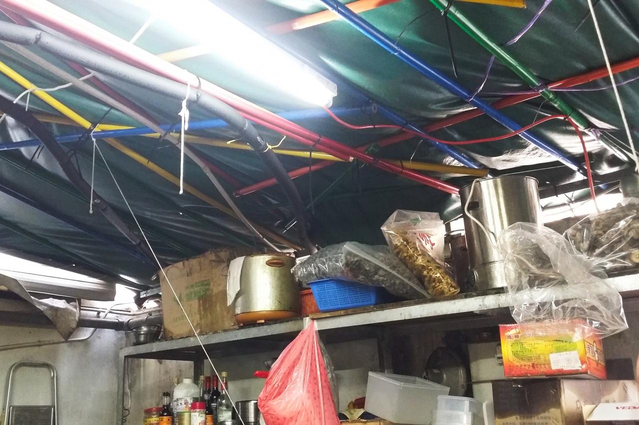 西貢普通道後巷簷篷發現貓屍,有餐廳老闆指是附近流浪貓。(溫釗榆攝)